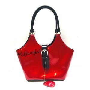Beijo Pearlescent Red Patent Satchel Hand Bag